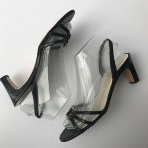 Salvatore Ferragamo Sz 7 Open Toe Heel Black